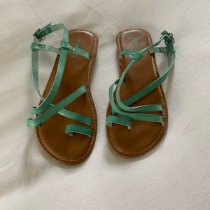 Mint Green leather strappy sandals